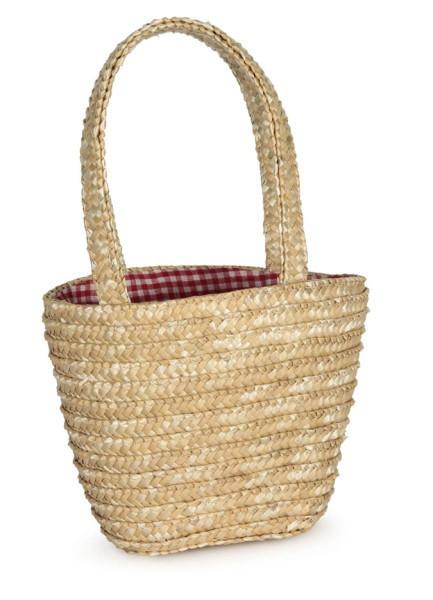 Small Straw Shopping Basket with Gingham Lining