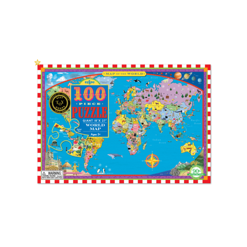Eeboo 100 Pc Puzzle - World Map