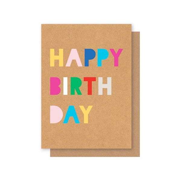 Elly Oak Card -Happy Birthday Bubble Writing
