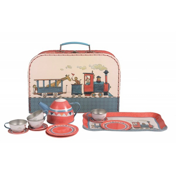 Tin Tea Set In A Basket - Train