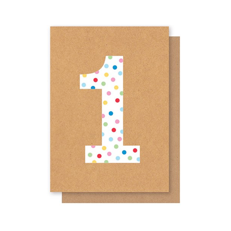 Elly Oak Card - Number Polkadot One
