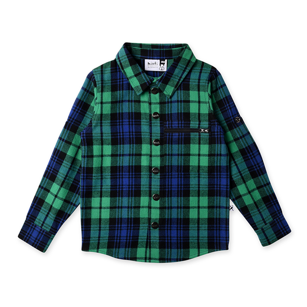 Minti Snappy Flannel Shirt - Green