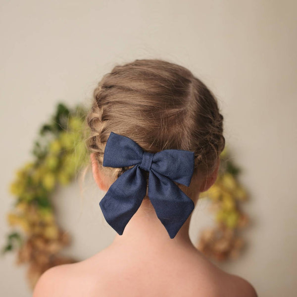 Dotty Dandelion Party Bow Clips - Navy