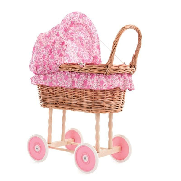 Wicker Pram Fuschia Flower