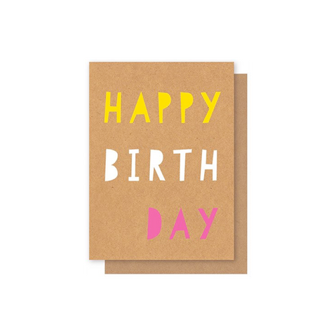 Elly Oak Card - Birthday Fluro