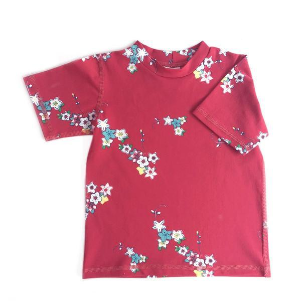 Alfie & Nina - Girls Short Sleeve Rashie in Red Blossom