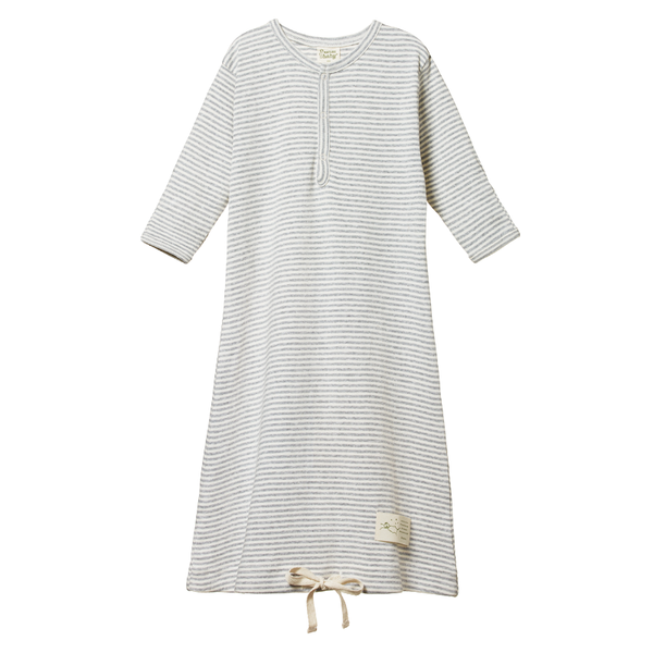 Nature Baby Sleeping Gown - Grey Marle Stripe