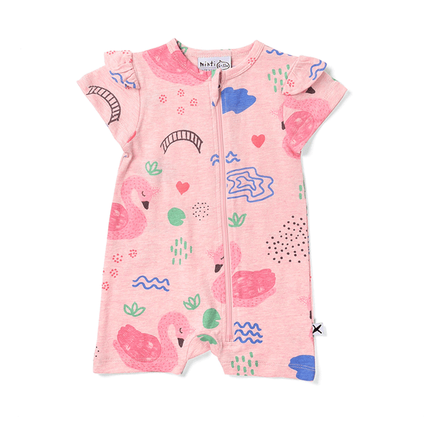 Minti Frilly Zippy Suit - Swan Garden