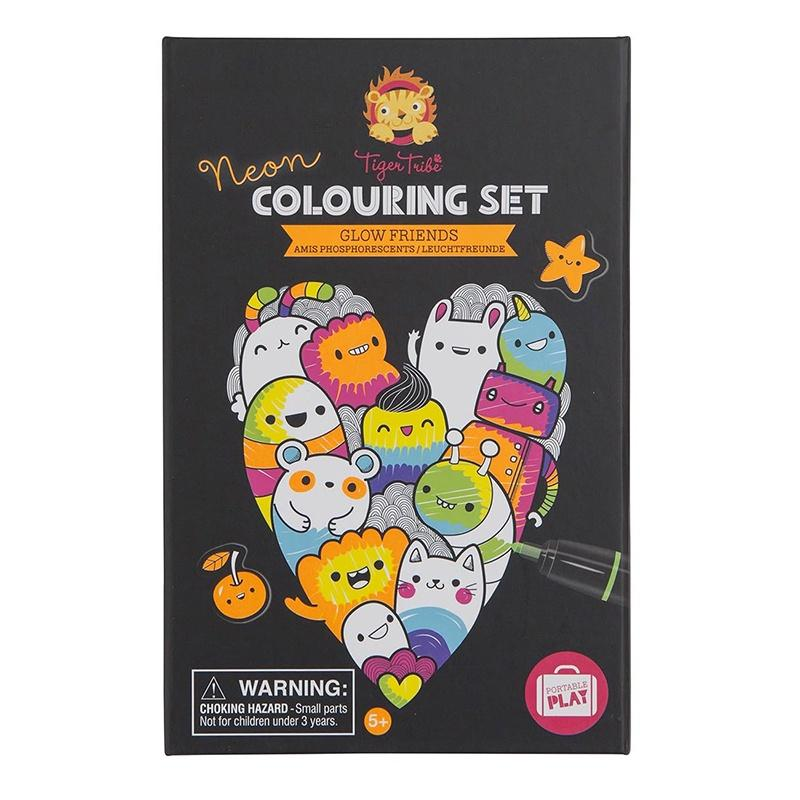 Neon Colouring Set - Glow Friends tiger tribe at Shorties