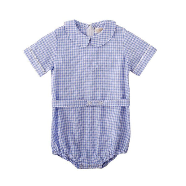 Peggy Scarlett Playsuit - Blue Gingham at Shorties