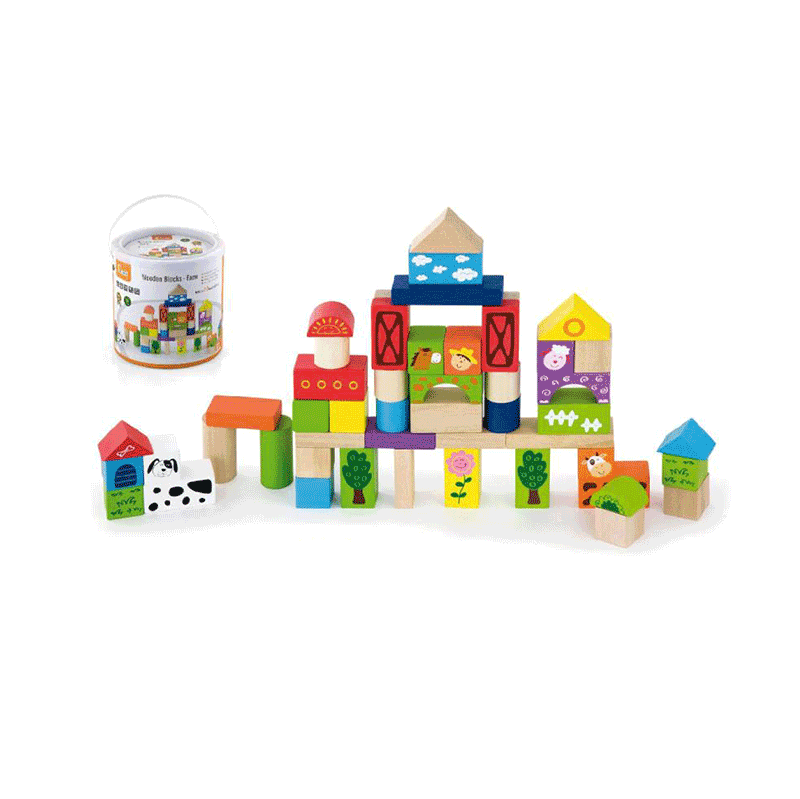 50 Piece Wooden Blocks in Tub - Farm