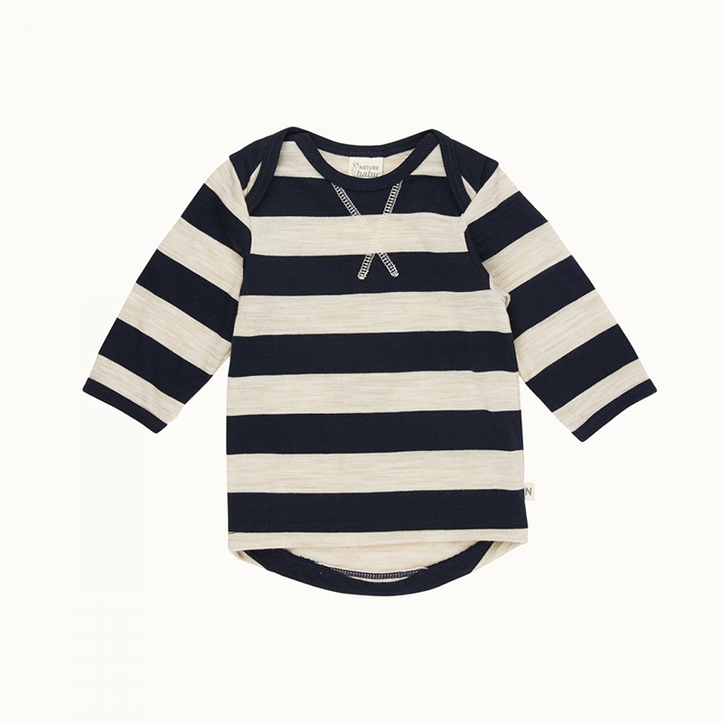 Nature Baby Merino Essential Tee - Navy/Oatmeal