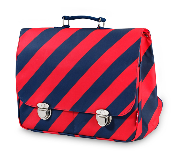 Engel Large School Bag - Navy/Red
