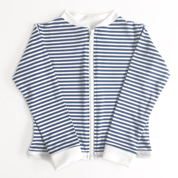 Alfie & Nina - Long Sleeve Zip Up Rashie in Navy Stripe