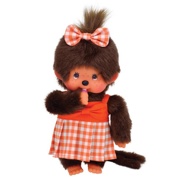 Monchhichi Doll - Orange Gingham Dress