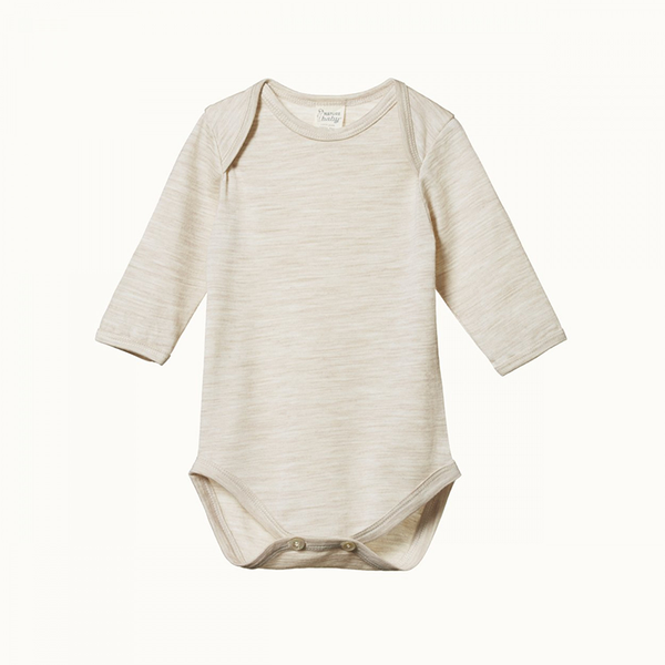 Nature Baby Long Sleeve Bodysuit - Oatmeal Marle