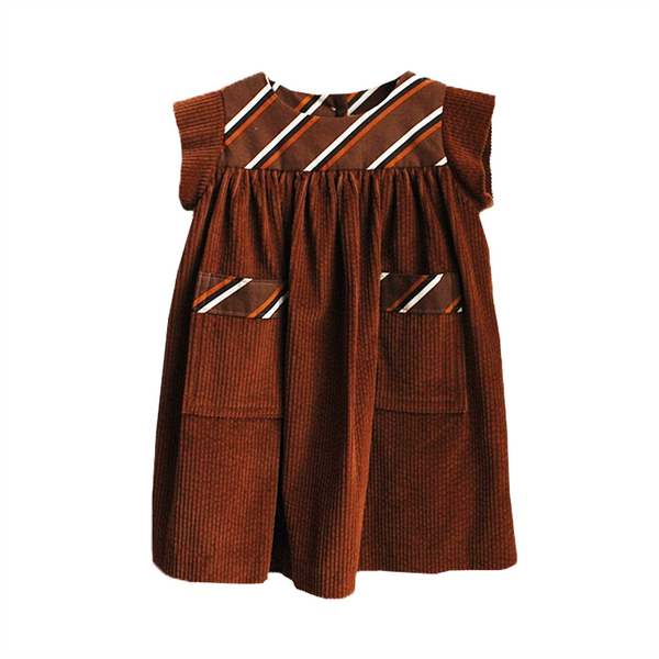 Folk Dress - Brown Cord