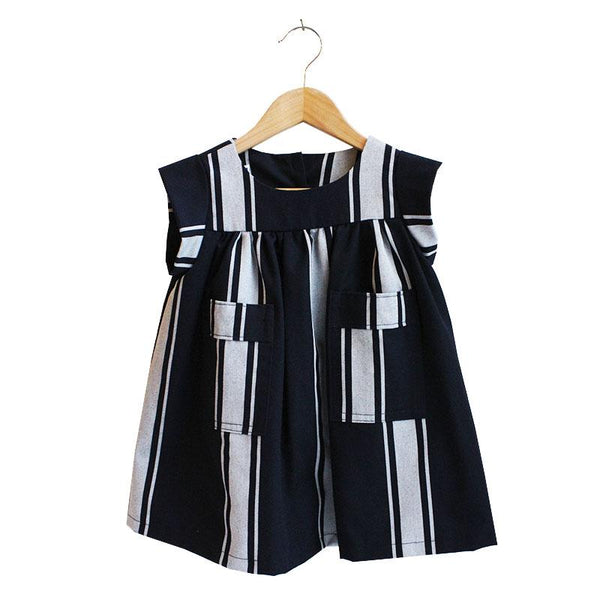 Shorties Folk Dress - Butcher's Stripe