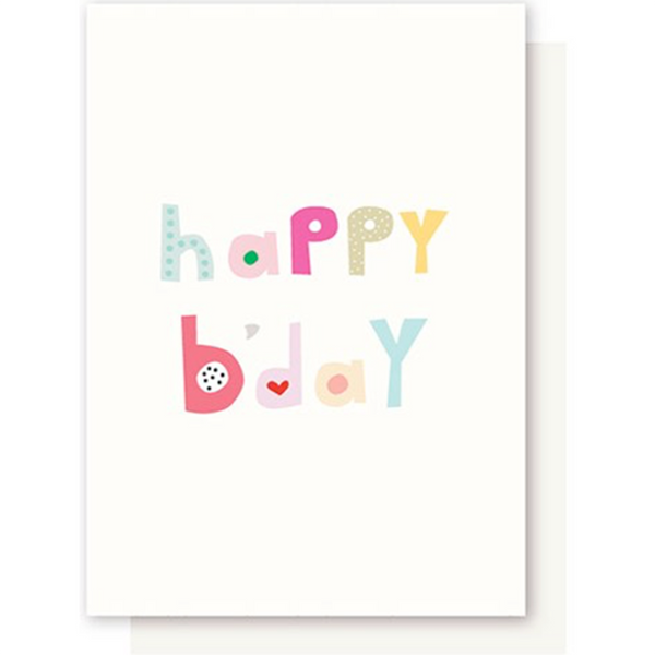 Elly Oak - Happy Birthday - Colourful Letters - Cream