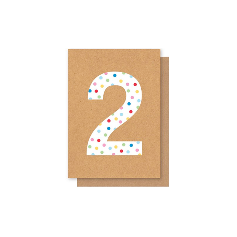 Elly Oak Card - Number Polkadot Two