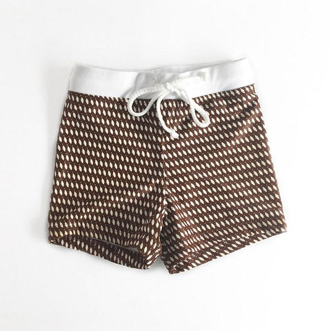 Alfie & Nina - Boys Bathing Short in Brown Fish