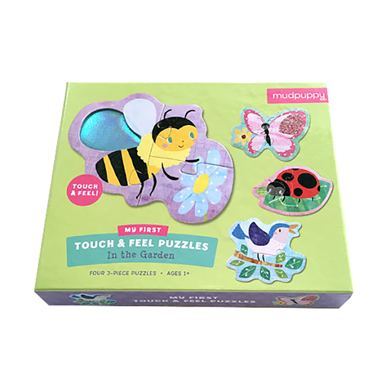 Mudpuppy Touch Feel Puzzle - Garden 4x three piece puzzles