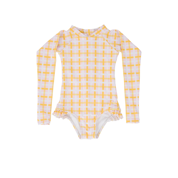 Peggy Violet Swimsuit - Pink/Yellow Check