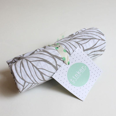 Handprinted Muslin Wrap - Grey Leaf