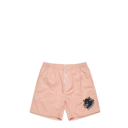 Panther Head Pink Swim Shorts
