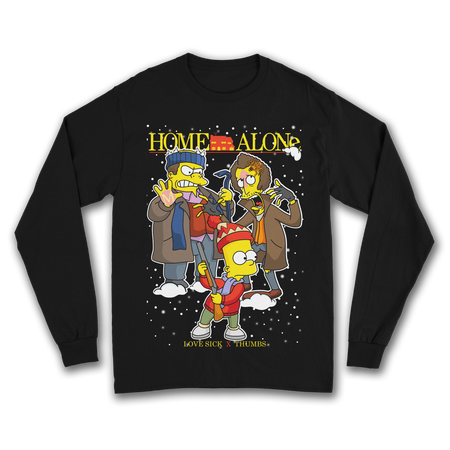 Home Alone x Simpsons Black Long Sleeve T-Shirt