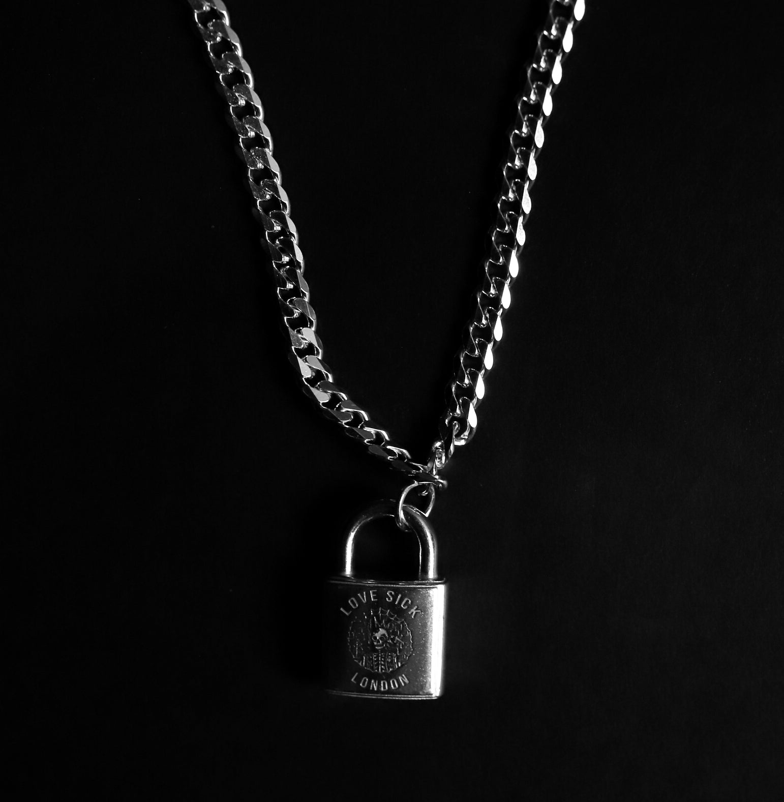 Sliver Punk lock & chain (Made to order)