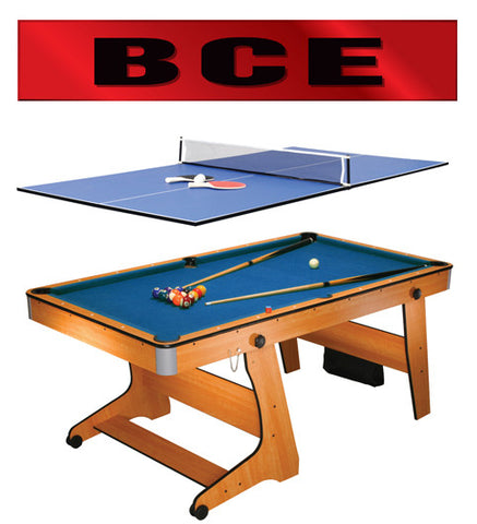 BCE 6' Rollaway Folding Pool Table with Table Tennis Top (FP-6TT)
