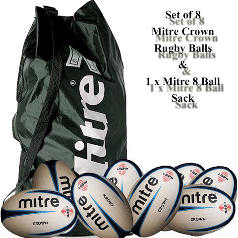 Mitre Crown Rugby Ball Set - 8 x Size 5 Ball + 1 x Mitre 8 Ball Sack