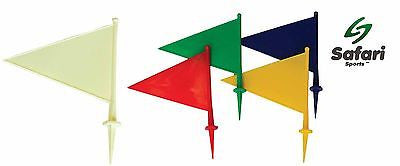 Plastic Flags - Cricket Games Play Outdoor Marking 29cm White Mixed Colours