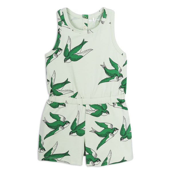 Mini Rodini Light Green Swallows Shortie Playsuit