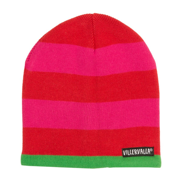 Villervalla Paprika and Cranberry Knitted Beanie Hat