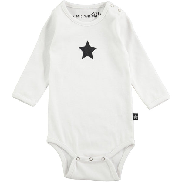 Molo Foss Bright White Long Sleeved Bodysuit with Black Star
