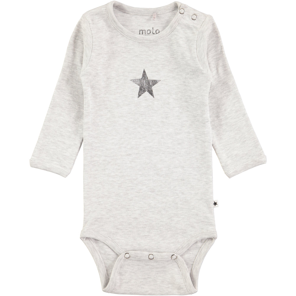 Molo Foss Snow Melange Long Sleeved Bodysuit