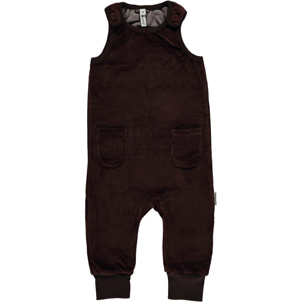 Maxomorra Dark Brown Velour Dungarees with Pockets