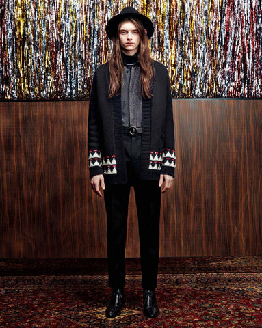 LONG WOOL CARDIGAN IN A GRAPHIC JACQUARD