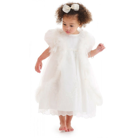 ROMANO PRINCESS Baby Girls Ivory Organza Dress & Cape Set