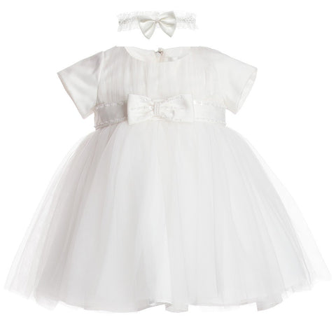 ROMANO PRINCESS Baby Girls Ivory Satin And Tulle Dress With Headband