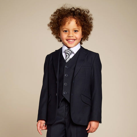 Boys Navy Blue Suit with Waistcoat (3 Piece)