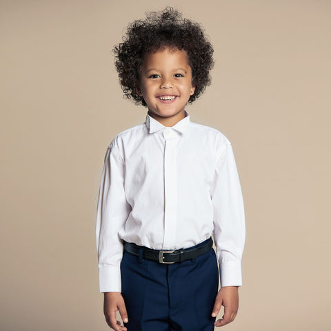 Boys White Cotton Wing Collar Shirt