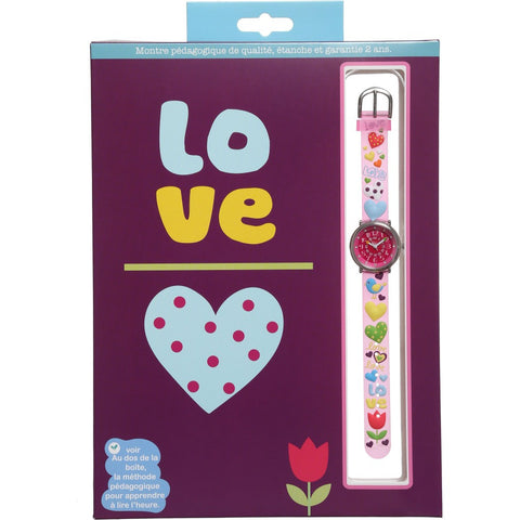 Girls Pink Love Watch (20cm)