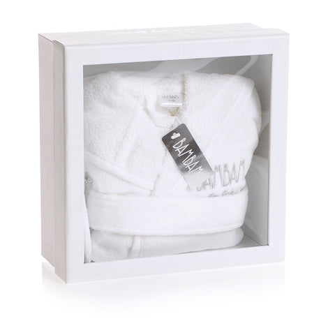 White Baby Bathrobe & Slippers Gift Set