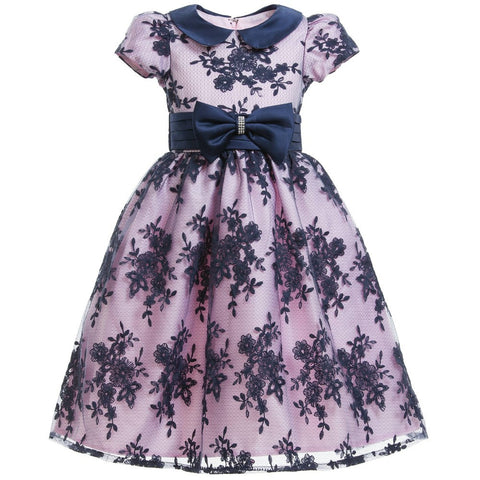 Pink & Navy Blue Lace Dress & Bow
