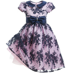 Pink & Navy Blue Lace Dress & Bow - Salon3o, Kooperativa GO-RE z.b.o., Tupaliče 15, 4205 Preddvor,Slovenia,Europe.All rights reserved.