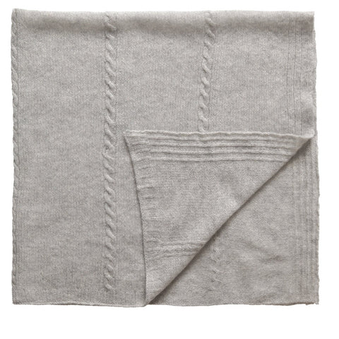 Cashmere Cable Knit Grey Shawl (90cm)