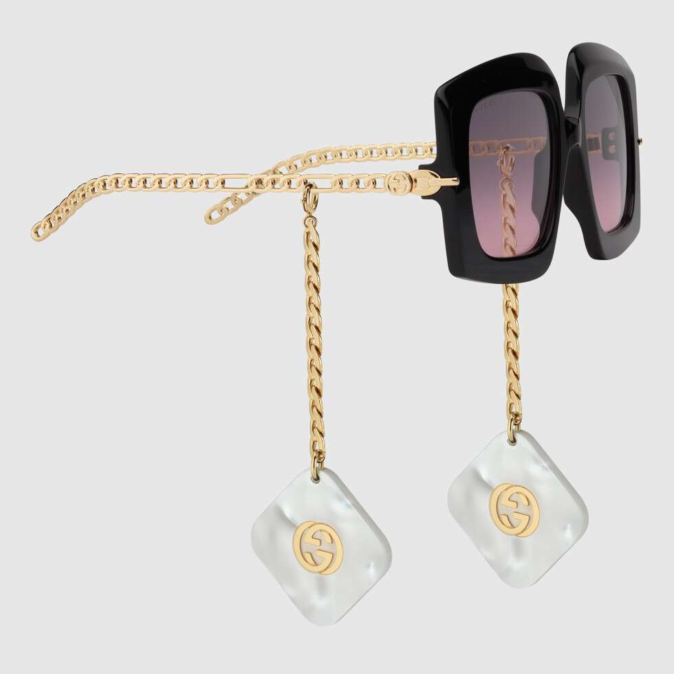 Online Exclusive square sunglasses with charms